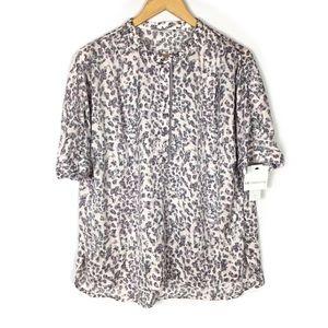 Liz Claiborne lilac leopard casual blouse top